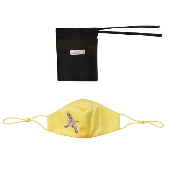 Adjustable Silk Face Mask with Embroidered Crane - Yellow