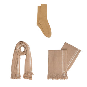 Gift Set - Selvedge Stripe Blanket in Camel with Recycled Cashmere Socks (worth £354)