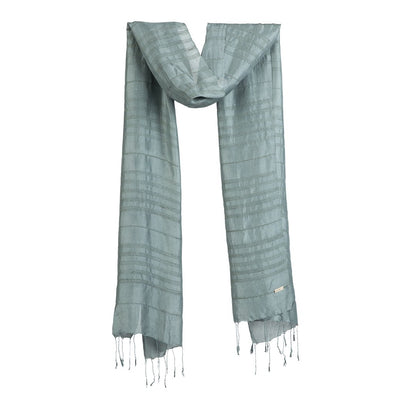 Airy Strands of Silk/Lotus Scarf – Grey