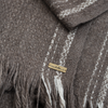 Folded fringe detail brown blanket shawl scarf large yak soft luxurious edge stripe cream from Thread Tales company