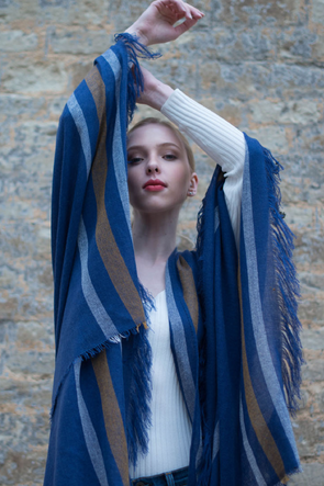 Cashmere Blend Fringed Travel Wrap – Indigo Tan