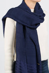 Lotus/Silk Border Stripe Scarf – Indigo