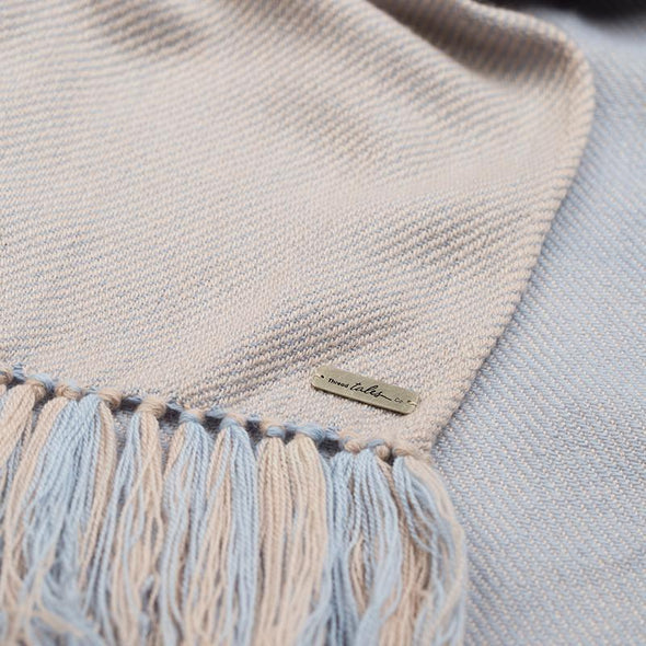 Pre-Order Hand Woven Cashmere Blend Two Tone Throw – Putty & Powder Blue