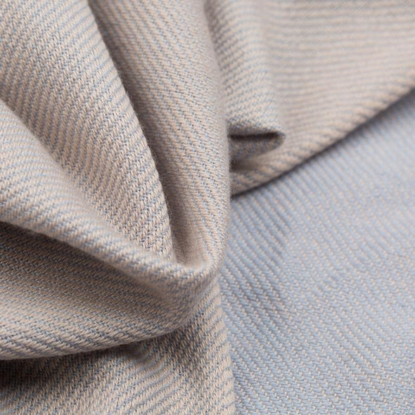 Hand Woven Cashmere Blend Two Tone Throw – Putty & Powder Blue - PRE ORDER ONLY