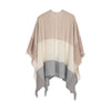 Back hanging view of cape in neutral tones of cream, beige and soft blue wide stripes in cashmere and wool handwoven finished with fringe from Thread Tales company