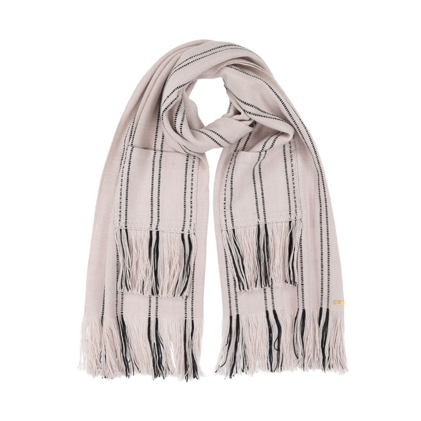 Neck loop display blanket scarf wrap pocket detail cream with black stripe broken stripe long fringe monochrome hand woven from Thread Tales company