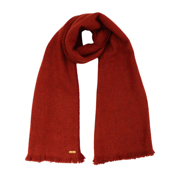 Hand Woven Narrow Yak Scarf in Rust - Pre-order