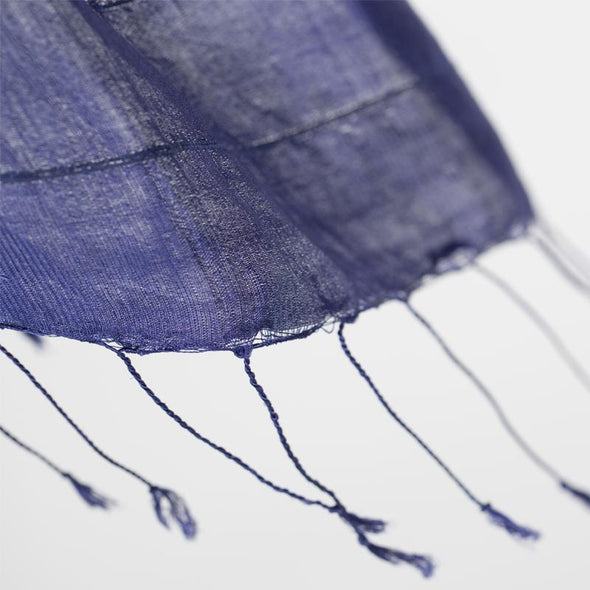Airy Strands of Silk/Lotus Scarf – Indigo