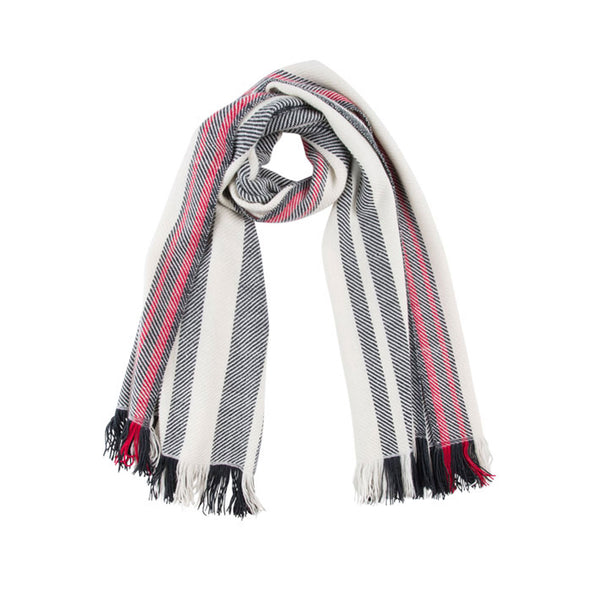 MoScarf neck-loop red, black white twill stripes merino wool, handwoven heavyweight blanket from Thread Tales company