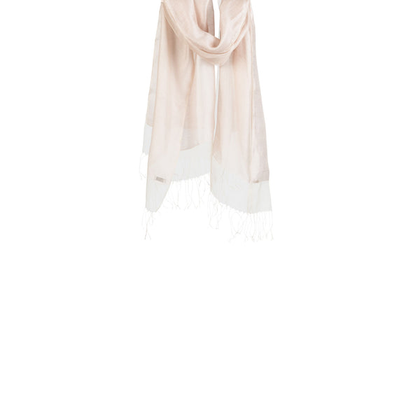 Double Layer Silk/Cotton & Silk Organza Scarf – Oyster