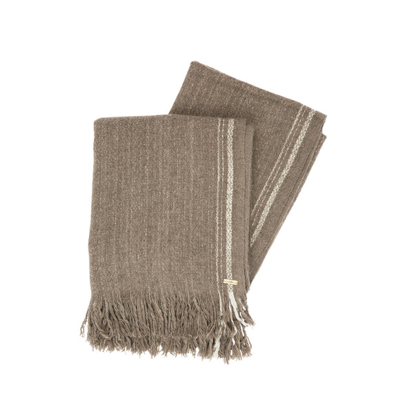 Folded fringe edge stripe detail brown blanket shawl scarf large yak soft luxurious edge stripe cream from Thread Tales company