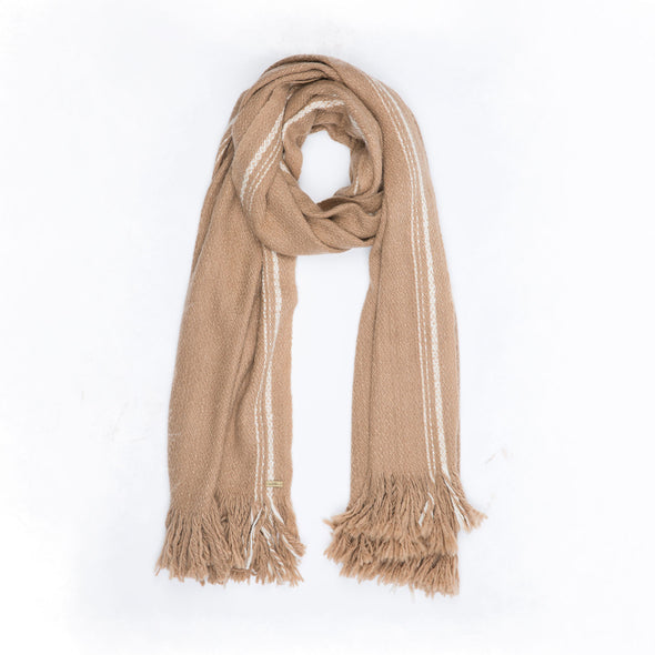 Neckloop 100% camel wool luxurious oversized blanket wrap in camel colour with cream selvedge edge stripe. Soft and thick this is cosy travel wrap from Thread Tales company