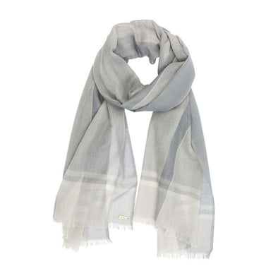 Cashmere Hand Woven Check Wrap – Grey