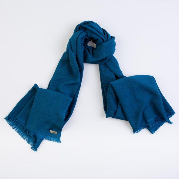Lotus silk scarf in teal neck loop display