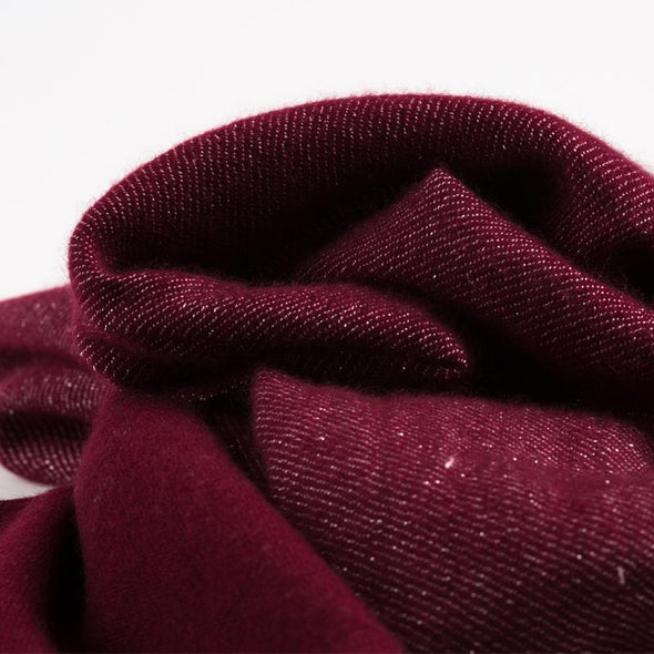 Folded detail of scarf in burgundy soft cashmere mix with metallic burgundy yarn from Thread Tales company