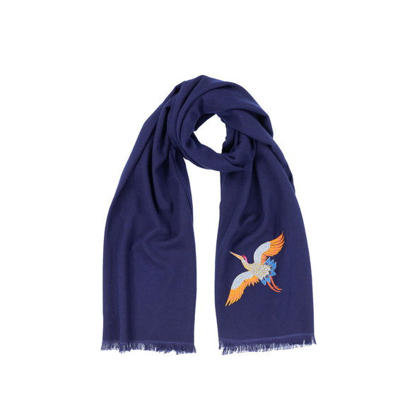 Crane Embroidered Cashmere Scarf - Navy Ink