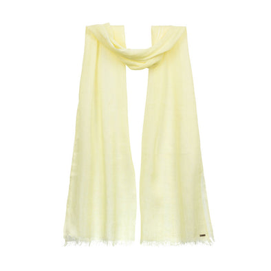 Hanging citrus yellow linen scarf. Handwoven and sustainably made from eco dyes by Thread Tales