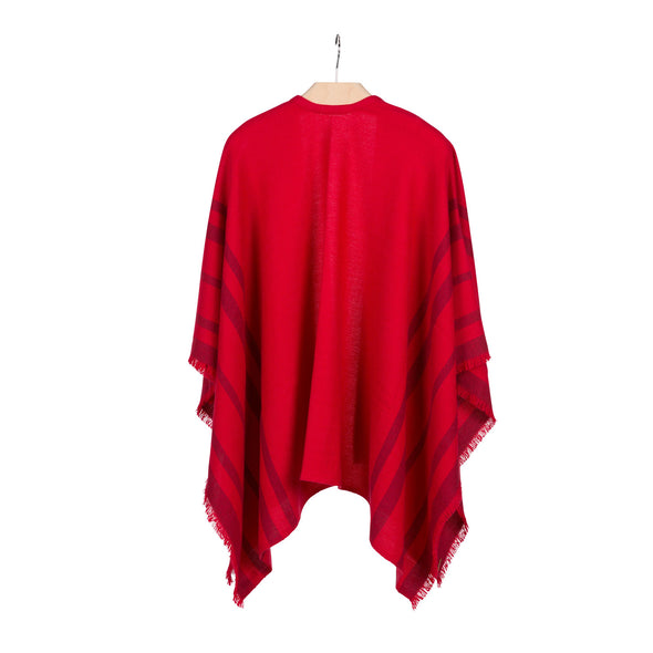 Hanging back view fringed travel wrap red with crimson striped edge fringed cashmere wool from Thread Tales company