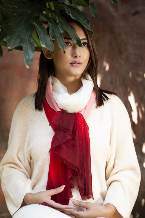 Peace Mountain Dip Dyed Scarf - Crimson and Pink - 40% off