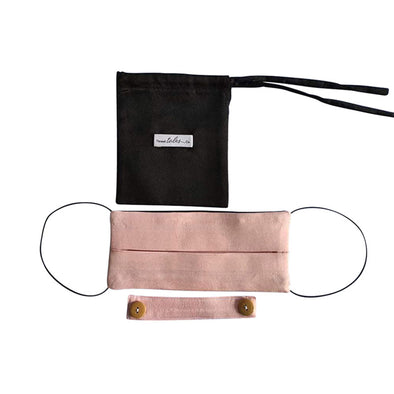 Reversible Silk Face Mask with Band - Dusky Pink