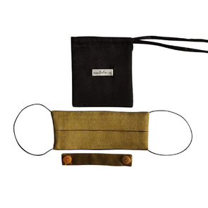 Reversible Silk Face Mask with Band - Gold