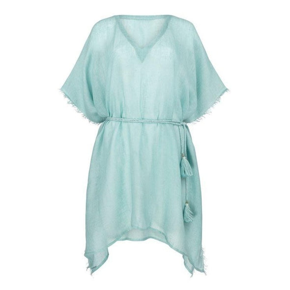 Metallic Gauzy Linen Green Kaftan - 40% off