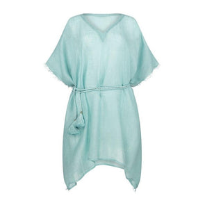 Metallic Gauzy Linen Green Kaftan - 20% off