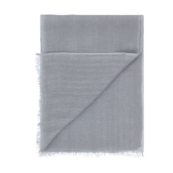 Folded corner detail of grey linen scarf. Handwoven and sustainably made from eco dyes by Thread Tales