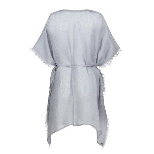 Metallic Gauzy Linen Grey Kaftan - 40% off