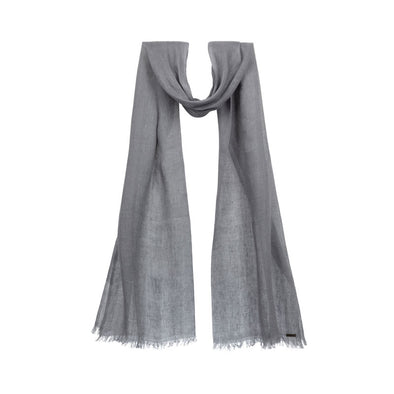 Hanging grey linen scarf. Handwoven and sustainably made from eco dyes by Thread Tales