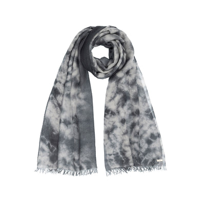 Folded detail grey shades hand tie dyed scarf made from 100% certified cashmere by Thread Tales company