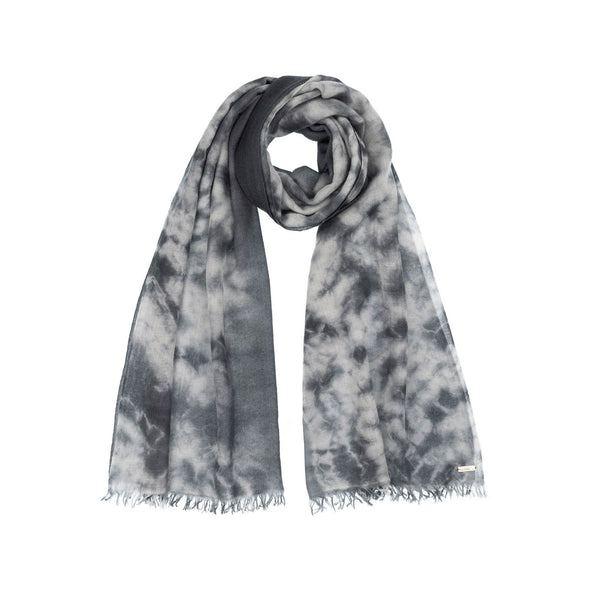 Folded neckloop of grey shades hand tie dyed scarf made from 100% certified cashmere by Thread Tales company