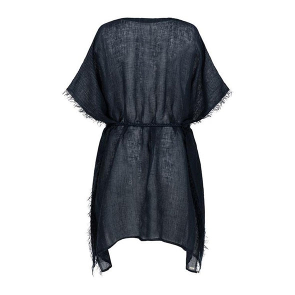 Metallic Gauzy Linen Ink Kaftan - 40% off
