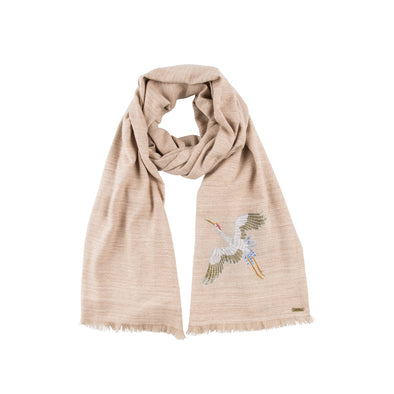 Spirit of Freedom Crane Scarf (Natural) - Lotus/Cashmere (Made to Order)