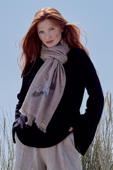 Spirit of Freedom Crane Scarf (Natural) - Lotus/Cashmere
