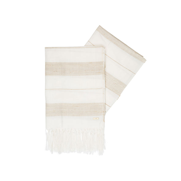 Striped Silk/Lotus Border Wrap - Ivory
