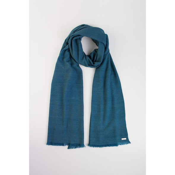 Lotus silk blend scarf in teal neck loop showing quality and uniqueness from Thread Tales