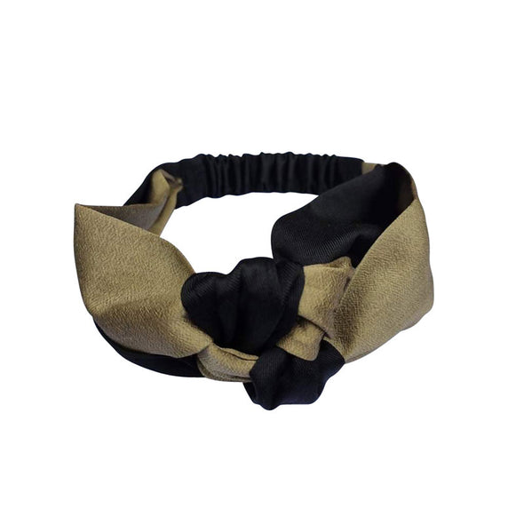 Silk Headband in Two Tone contrast - Gold and Black