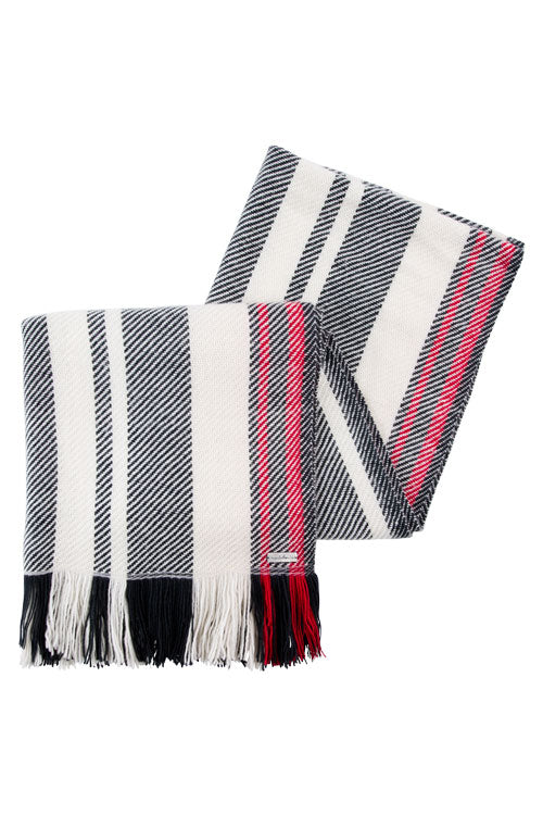 Scarf folded display red, black white twill stripes merino wool, handwoven heavyweight blanket from Thread Tales company