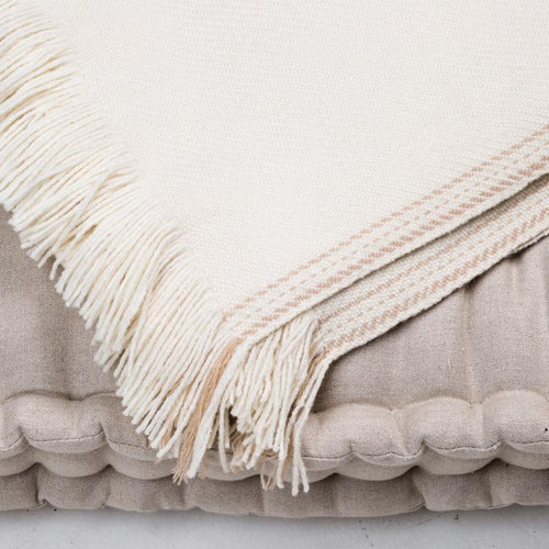 Cream luxurious blanket museling free merino wool handwoven from Thread Tales company