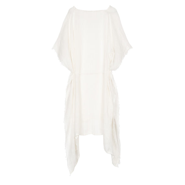 Metallic Gauzy Linen White Kaftan - 40% off
