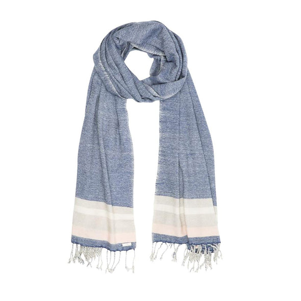 Multi-Weave Border Stripe Scarf - Indigo