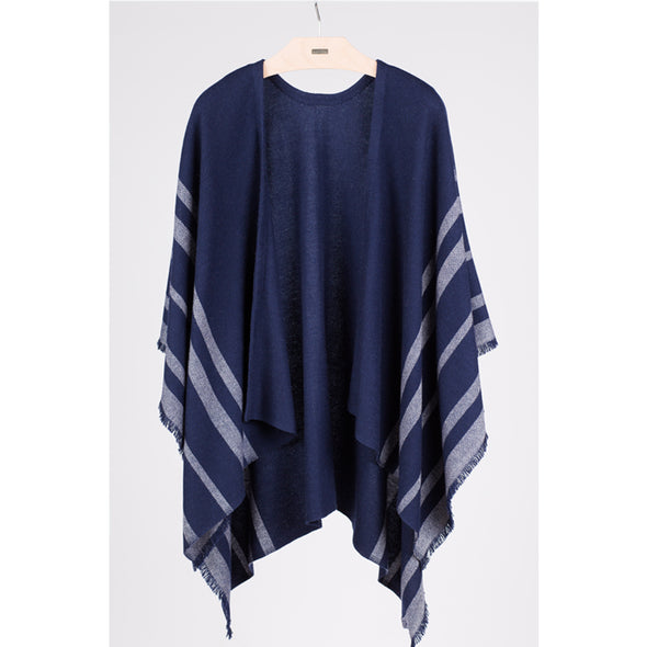 Cashmere Blend Fringed Travel Wrap – Indigo