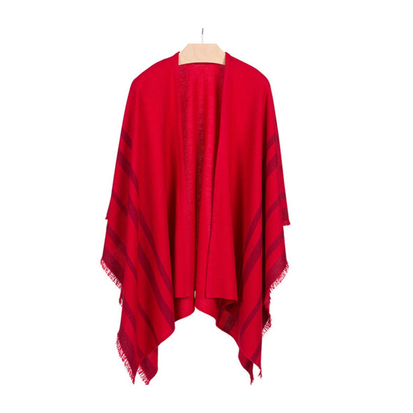 Hanging front view fringed travel wrap red with crimson striped edge fringed cashmere wool from Thread Tales company