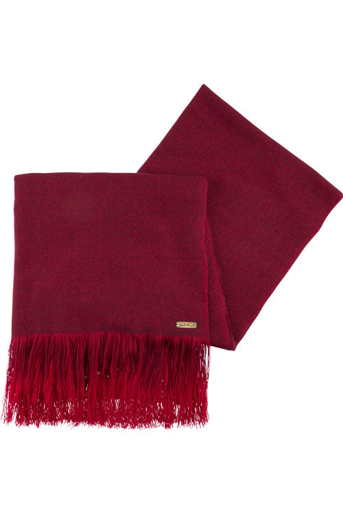 Hand Woven Ombre Fringe Scarf Wine