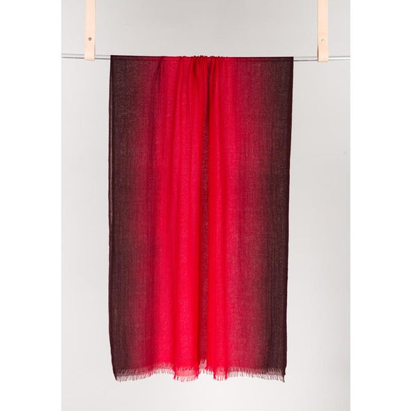 Shades of Crimson and Garnet Dip Dye Scarf