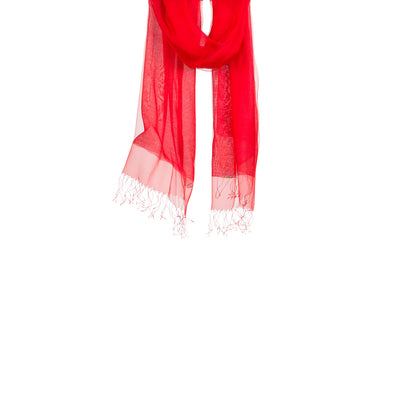 Hanging scarf shawl red silk double layer floaty effect sheer scarf from Thread Tales company