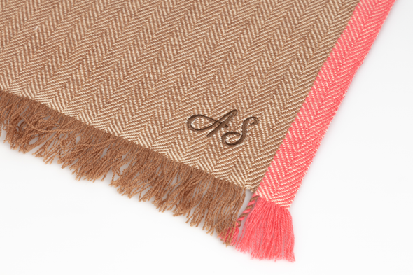 Hand Woven Cashmere Blend Neon Tipped Wrap Camel/Pink - 30% Off