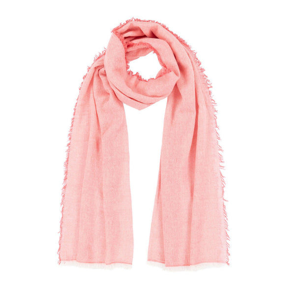 Serenity Cashmere and Seacell Scarf - Coral