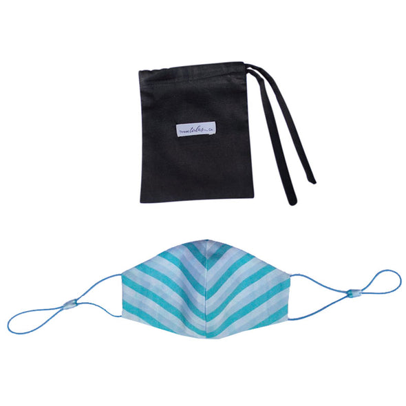 Adjustable Silk Mask - Blue Stripe and matching hair scrunchie